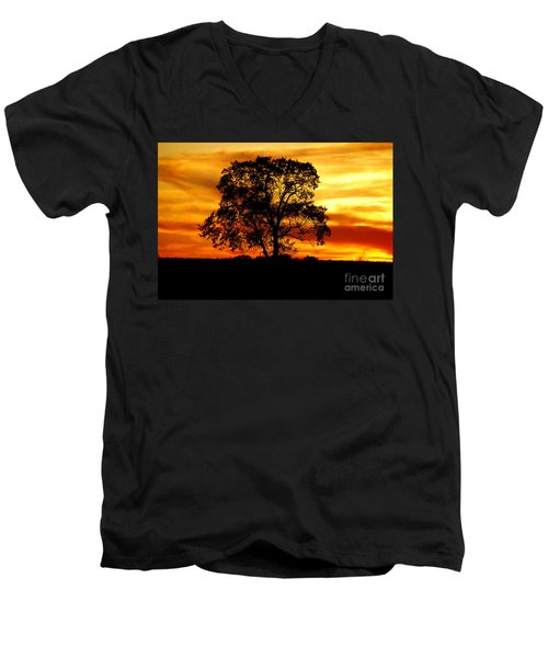 Men's V-Neck T-Shirt featuring the photograph Lone Tree by Mary Carol Story