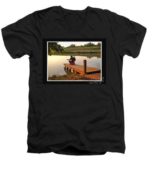 Lonely Guitarist Men's V-Neck T-Shirt by Debbie Portwood