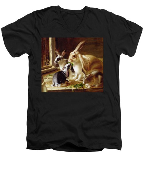 Long-eared Rabbits In A Cage Watched By A Cat Men's V-Neck T-Shirt by Horatio Henry Couldery