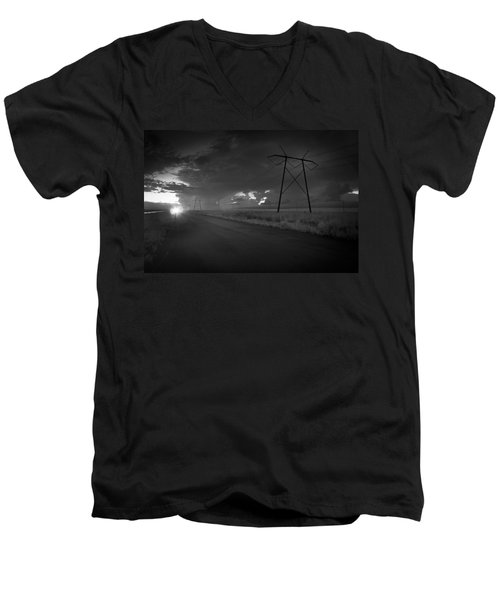 Men's V-Neck T-Shirt featuring the photograph Long Road Home by Bradley R Youngberg