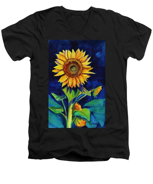 Midnight Sunflower Men's V-Neck T-Shirt