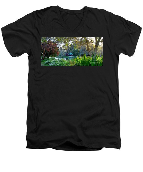 Looking Across Stow Lake At The Pagoda In Golden Gate Park Men's V-Neck T-Shirt by Jim Fitzpatrick