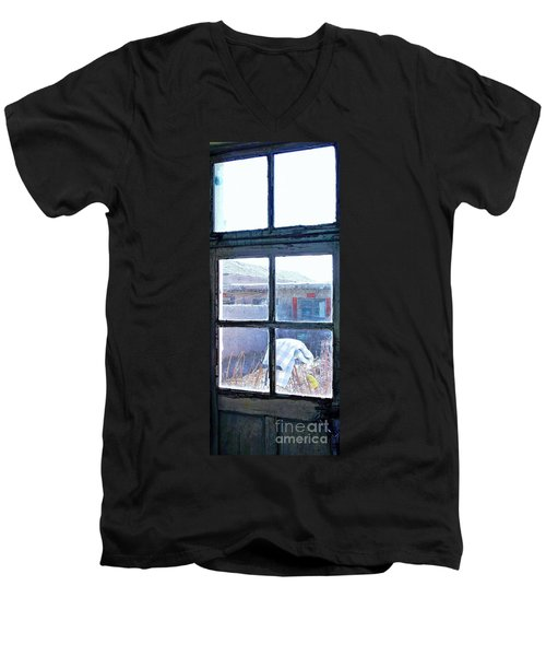 Men's V-Neck T-Shirt featuring the photograph Looking Out The Kitchen Door In February by Ethna Gillespie