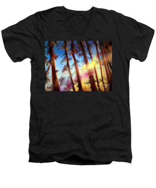 Men's V-Neck T-Shirt featuring the painting Looking Through The Trees by Alison Caltrider