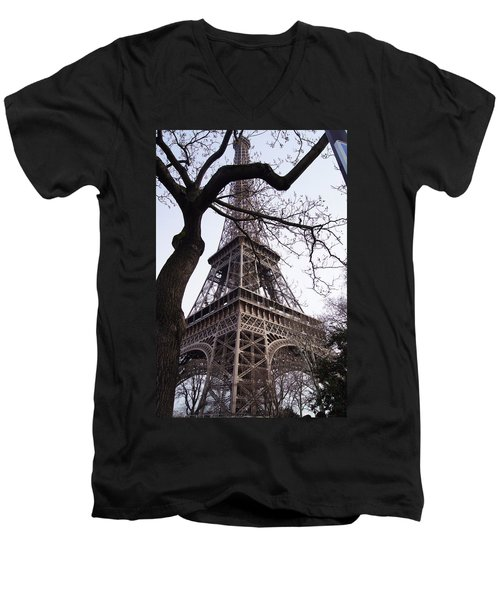 Looking Up To Eiffel  Men's V-Neck T-Shirt