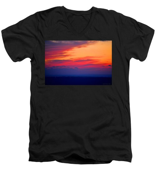 Lookout Mountain Sunset Men's V-Neck T-Shirt by Tara Potts