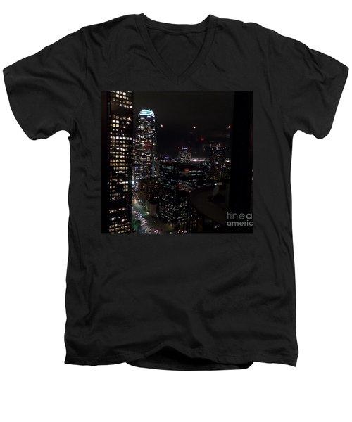 Los Angeles Nightscape Men's V-Neck T-Shirt