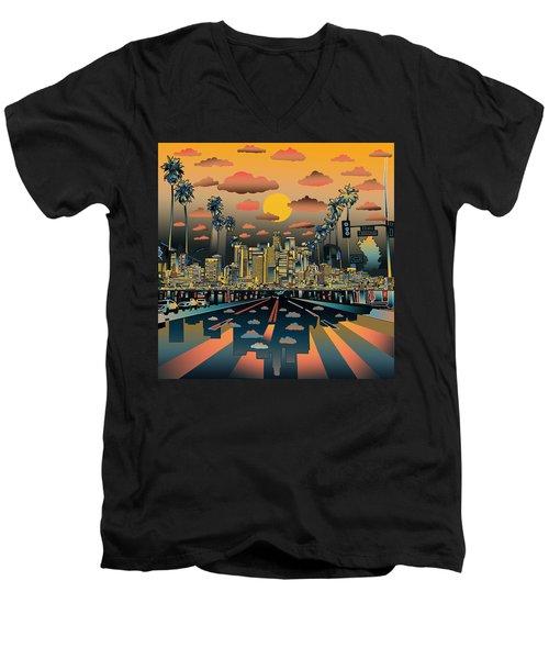 Los Angeles Skyline Abstract 2 Men's V-Neck T-Shirt by Bekim Art