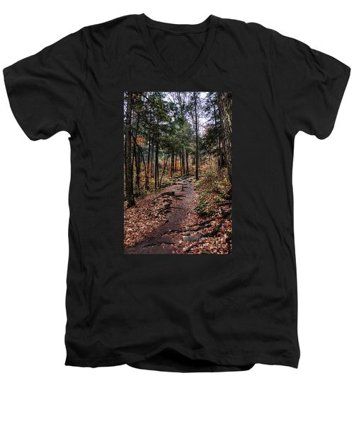 Men's V-Neck T-Shirt featuring the photograph Lost In Thought On The Blue Ridge Parkway Trail by Debbie Green