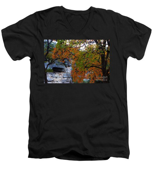 Fall Foliage At Lost Maples State Natural Area  Men's V-Neck T-Shirt