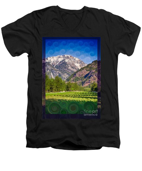 Lost River Airport Runway Abstract Landscape Painting Men's V-Neck T-Shirt