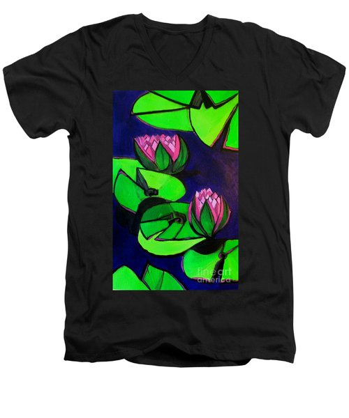 Lotus 2 Botanical Flowers Men's V-Neck T-Shirt