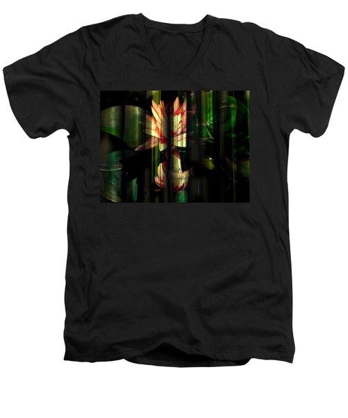 Lotus Bamboo  Men's V-Neck T-Shirt