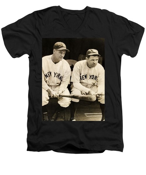 Lou Gehrig And Babe Ruth Men's V-Neck T-Shirt by Bill Cannon