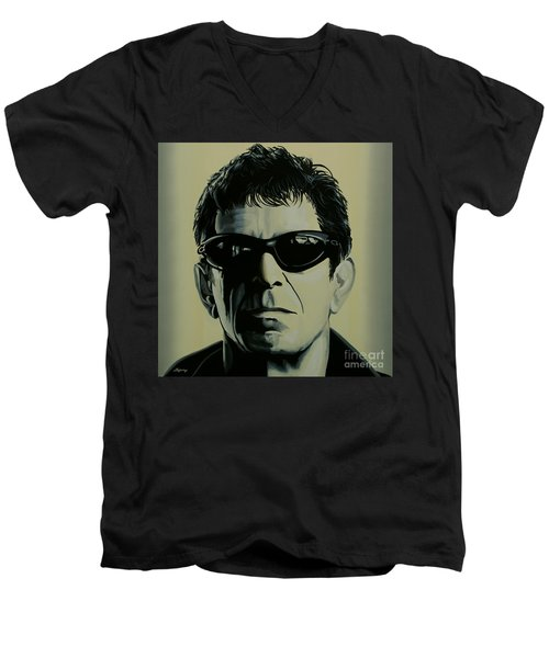 Lou Reed Painting Men's V-Neck T-Shirt by Paul Meijering