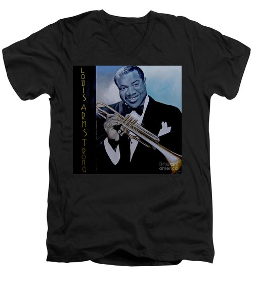 Louis Armstrong Men's V-Neck T-Shirt by Chelle Brantley