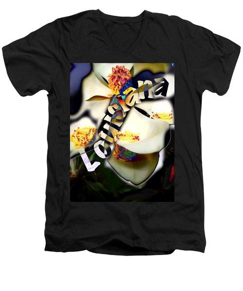 Louisiana Magnoila  Men's V-Neck T-Shirt
