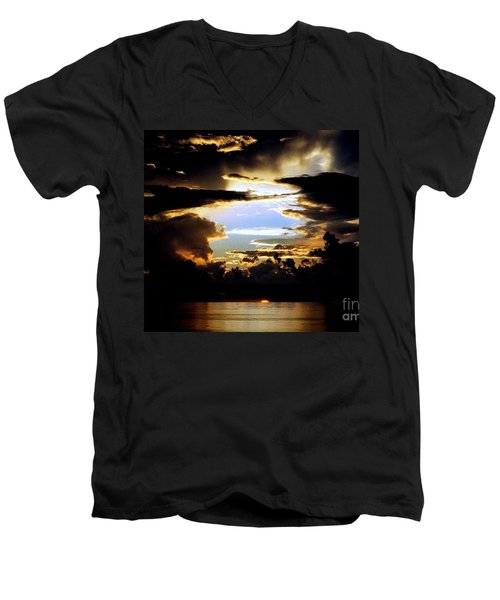 Men's V-Neck T-Shirt featuring the photograph Louisiana Sunset Blue In The Gulf  Of Mexico by Michael Hoard