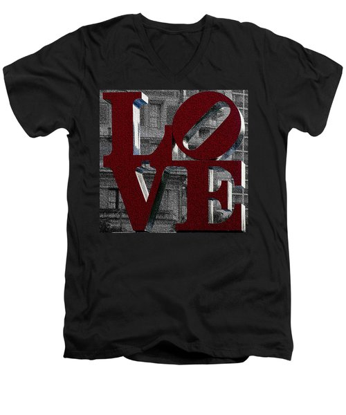 Love Philadelphia Red Mosaic Men's V-Neck T-Shirt