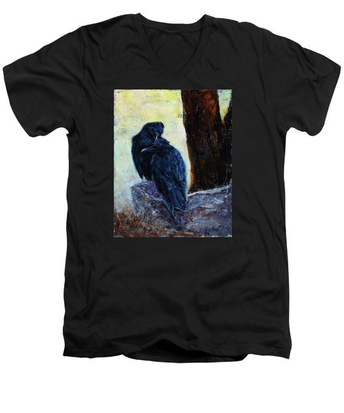 Men's V-Neck T-Shirt featuring the painting Love Season I by Xueling Zou