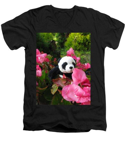 Men's V-Neck T-Shirt featuring the photograph Lovely Pink Flower by Ausra Huntington nee Paulauskaite