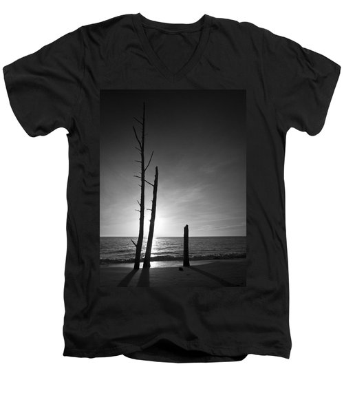 Lovers Key Sunset Black And White One Men's V-Neck T-Shirt