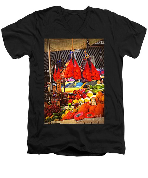 Men's V-Neck T-Shirt featuring the photograph Low-hanging Fruit by Miriam Danar