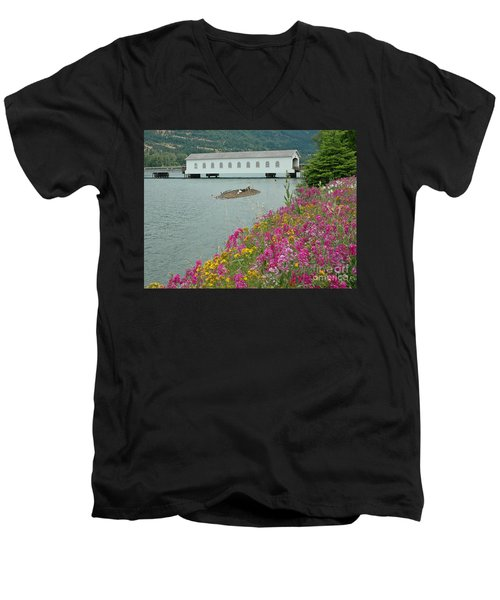 Men's V-Neck T-Shirt featuring the photograph Lowell Covered Bridge by Nick  Boren