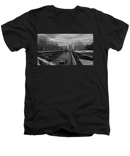 Lowell Ma Architecture Bw Men's V-Neck T-Shirt