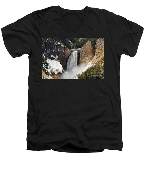 Lower Falls Of The Yellowstone Men's V-Neck T-Shirt by Sue Smith