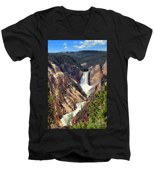 Lower Falls Of Yellowstone Men's V-Neck T-Shirt