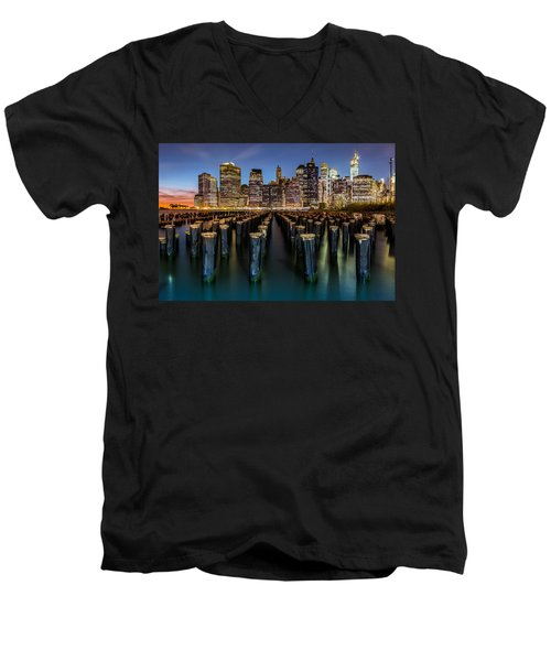 Men's V-Neck T-Shirt featuring the photograph Lower Manhattan by Mihai Andritoiu