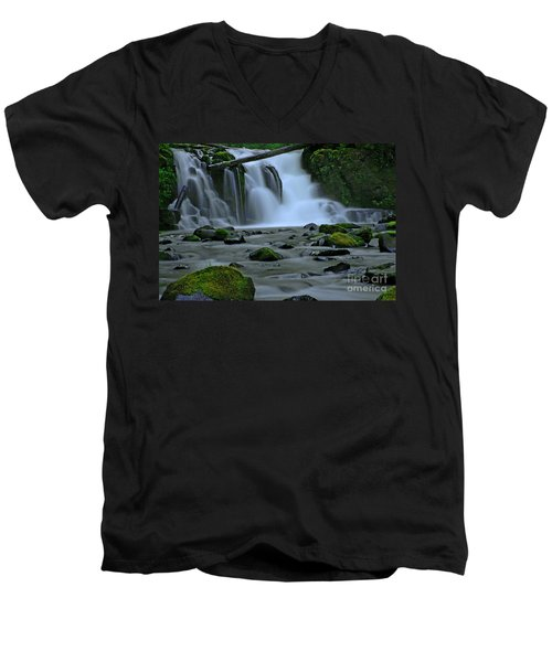 Lower Mcdowell Creek Falls Men's V-Neck T-Shirt by Nick  Boren