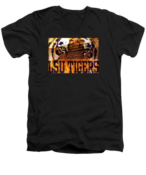 Lsu - Death Valley Men's V-Neck T-Shirt by Elizabeth McTaggart