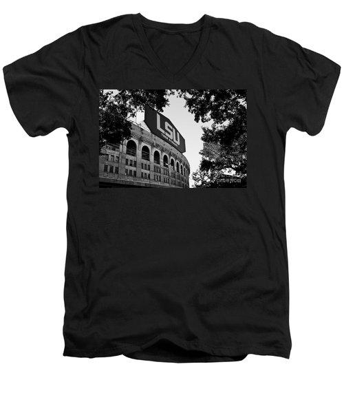 Lsu Through The Oaks Men's V-Neck T-Shirt by Scott Pellegrin