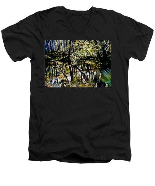 Lubianka-4 Mystery Of Swamp Forest Men's V-Neck T-Shirt by Henryk Gorecki