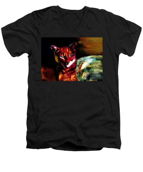 Lucifer Sam Tiger Cat Men's V-Neck T-Shirt