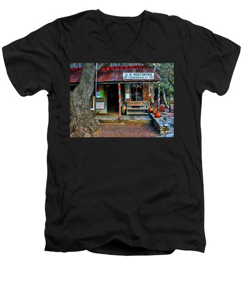 Luckenbach Texas Men's V-Neck T-Shirt by Judy Vincent