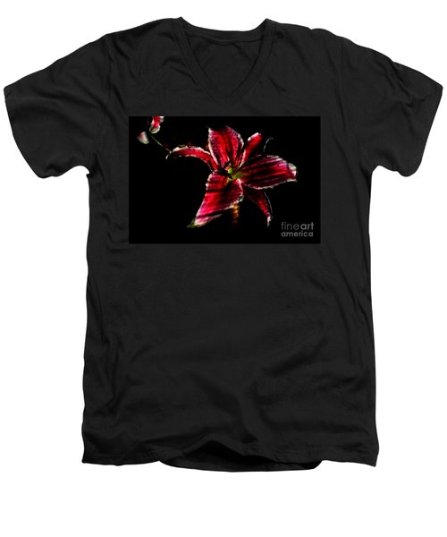 Men's V-Neck T-Shirt featuring the photograph Luminet Darkness by Jessica Shelton