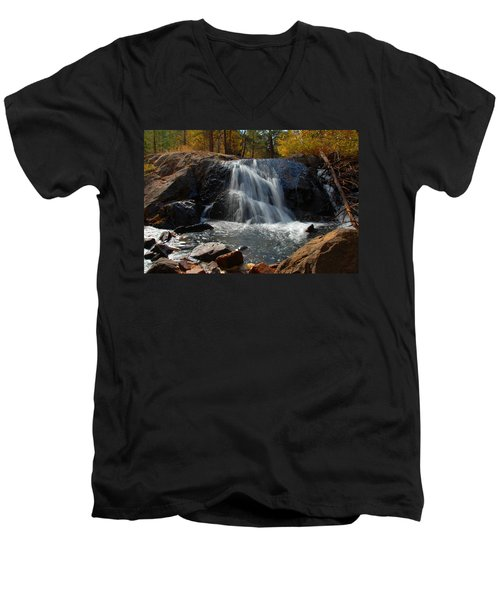 Men's V-Neck T-Shirt featuring the photograph Lundy Creek Cascades by Lynn Bauer