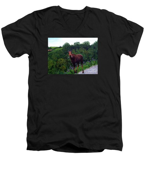 Men's V-Neck T-Shirt featuring the painting Lupine Loving Moose by Barbara Griffin