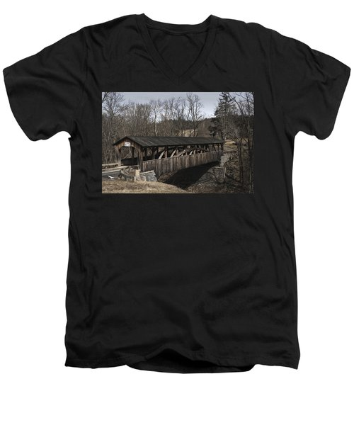 Luther's Mill Covered Bridge Men's V-Neck T-Shirt