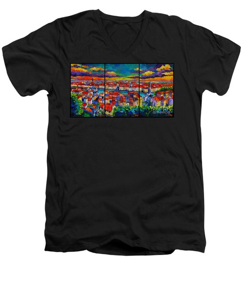 Lyon Panorama Triptych Men's V-Neck T-Shirt