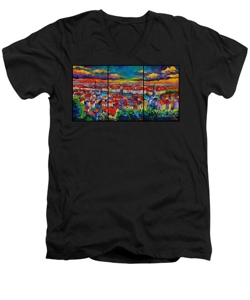 Lyon Panorama Triptych Men's V-Neck T-Shirt