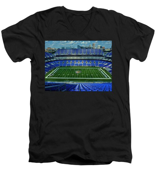 M And T Bank Stadium Men's V-Neck T-Shirt by Robert Geary