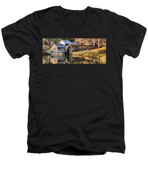 Mabry Grist Mill Fall Panorama Men's V-Neck T-Shirt