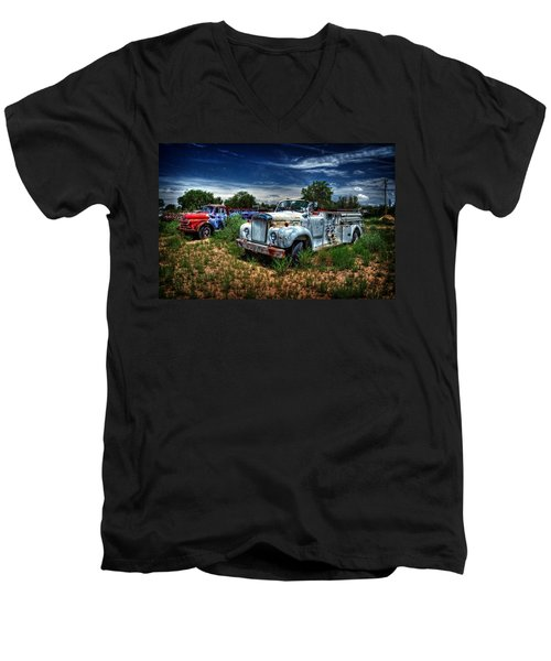 Men's V-Neck T-Shirt featuring the photograph Mack Fire Truck And Graffiti Fire Truck by Ken Smith