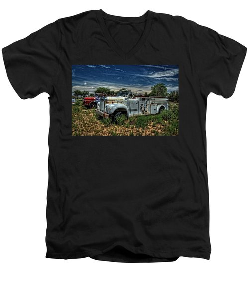 Men's V-Neck T-Shirt featuring the photograph Mack Fire Truck by Ken Smith