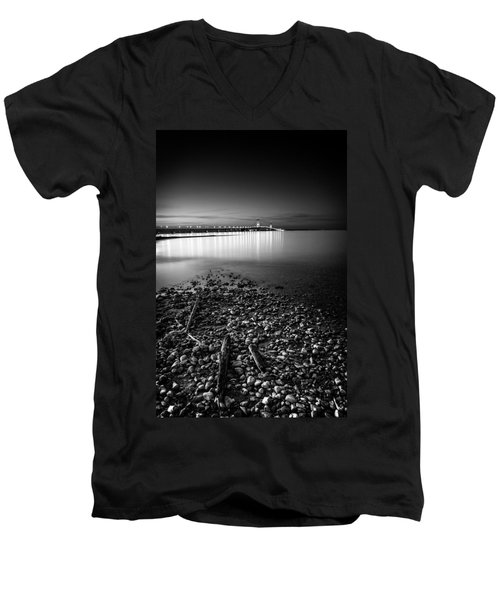 Men's V-Neck T-Shirt featuring the photograph Mackinac Bridge Bw by Larry Carr
