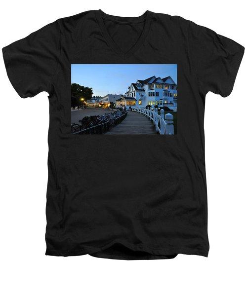 Mackinac Island At Dusk Men's V-Neck T-Shirt
